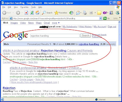 Shrinidhi Hande's article on rejection handling tops search results beating 2 million websites