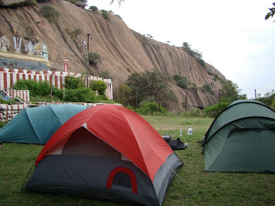 tents, temple and rock climbing