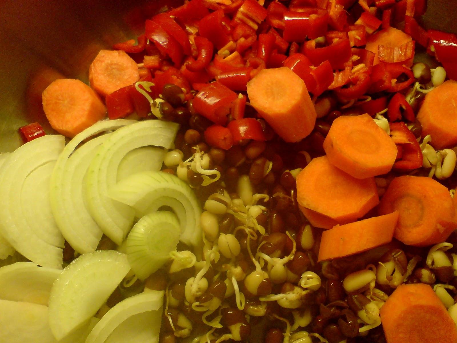 Vegane Küche Gemüse mit gekeimten Adzukibohnen