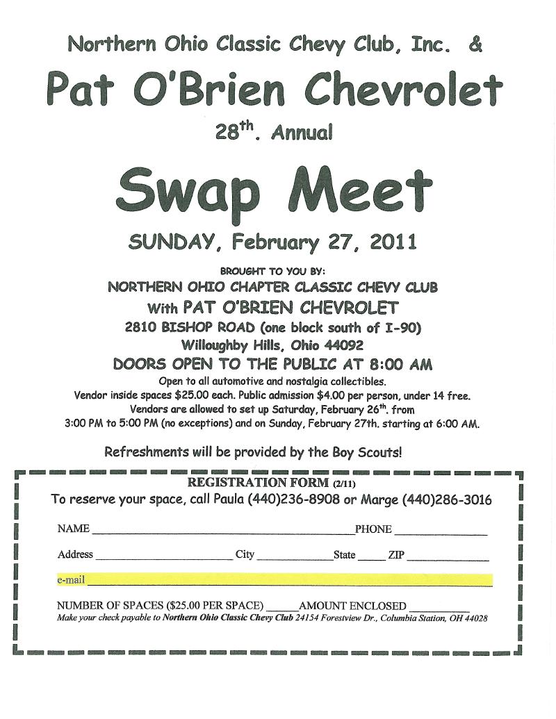 Pat O Brien Chevy >> Pat O'Brien Chevrolet's Blog: Swap Meet | Pat O'Brien ...