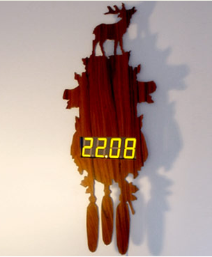 the digital stag cuckoo clock by flypitcher
