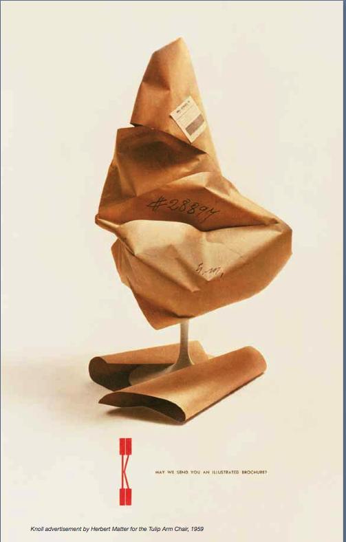 vintage Knoll print ad teasing new tulip chair, 1958