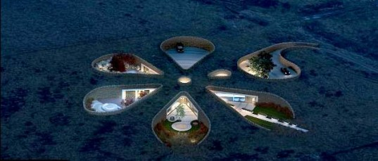 Flower Shaped Underground Eco Home at if it's hip, it's here