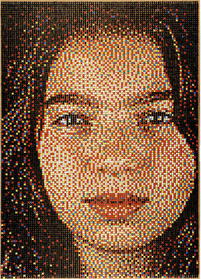 portrait created with pushpins