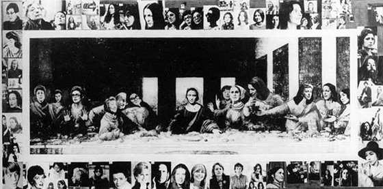 Mary Beth Edelson's feminist interpretation of The Last Supper, 1971