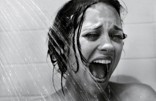 Marion Cotillard recreates a scene from Psycho. Photograph by Mark Seliger.