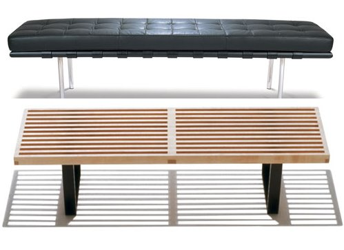 Platform bench by George Nelson for Herman Miller and the leather Mies van der Rohe Bench for Knoll.
