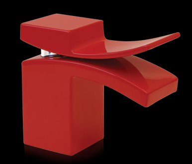 M Faucet in red