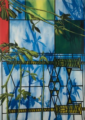 "Eamon O'Kane, Wright, Le Corbusier, Mondrian Mix with Plants from Edgar Allan Poe's Garden, 2008, oil on canvas, 84"" x 60"""