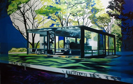 Eamon O'kane, Philip Johnson night and day remix (painted whilst listening to Gershwin's Rhapsody in blue), oil on canvas, 5ft x 7ft, 2008