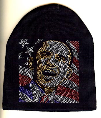 Obama beanie with colored crystals