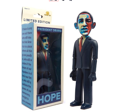 The limited edition HOPE version (a la Shepard Fairey) Obama Doll