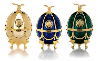 Faberge Egg Containers hold Imperial Brand Vodka