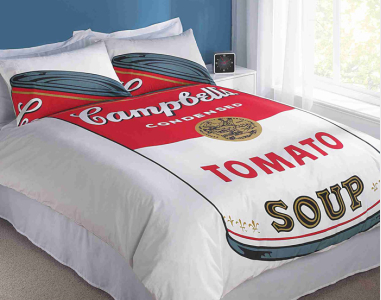 Warhol's Campbells soup duvet and pillowcases