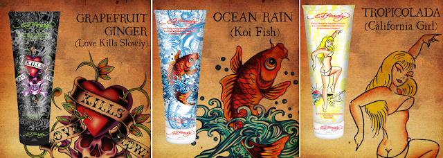 Ed Hardy branded tanning lotions and sprays are available