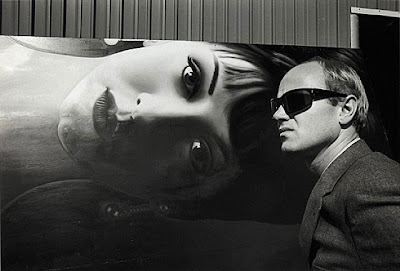 James Rosenquist in front of his painting, 1964, photo by Dennis Hopper