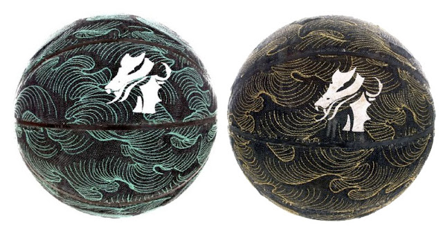 Embroidered denim soccer balls by Emperors of Honour