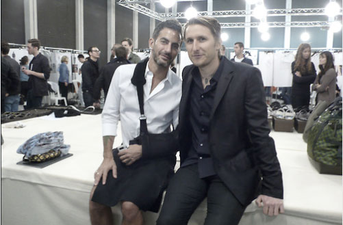 Marc Jacobs of Louis Vuitton and artist Scott Campbell backstage