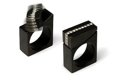blackened stainless steel kinetic rings