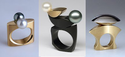 Tahitian pearl rings and combinations of stainless steel and 18k gold