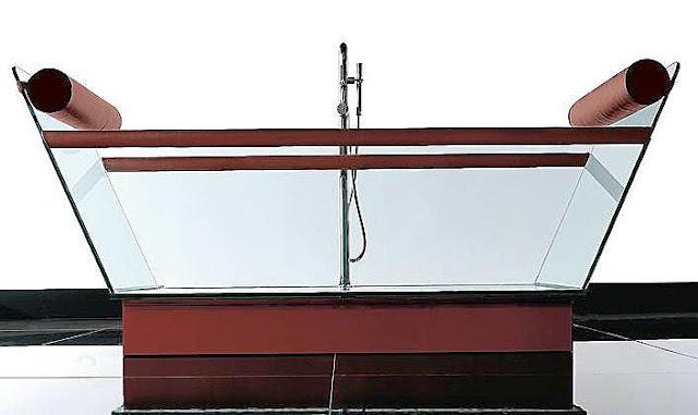 Milo glass and leather tub Grupo Treesse