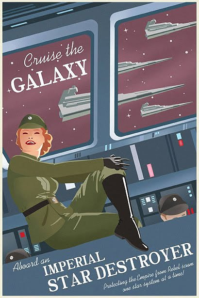 star wars vintage style travel poster Imperial Star Destroyer