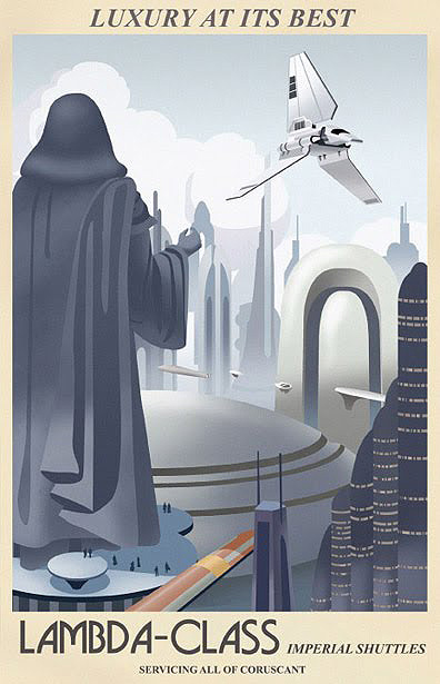 star wars vintage style travel poster Lambda Class Imperial Shuttles