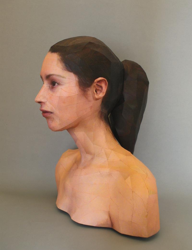 Paper sculpted head by Bert Simons