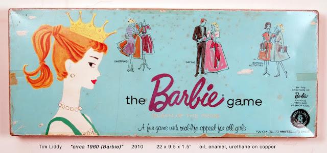 vintage barbie board game painted in oils