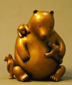 Bronze Mama Bear sculpture by Tom Otterness