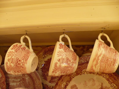 red transferware cups