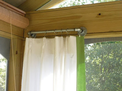 galvanized pipes as curtain rods