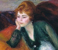 A painting of a young red-haired woman in green, lounging on a sofa, looking slightly to the right with a thoughtful expression. Painting is a cropped portion of William Glacken's _Young Woman In Green_.