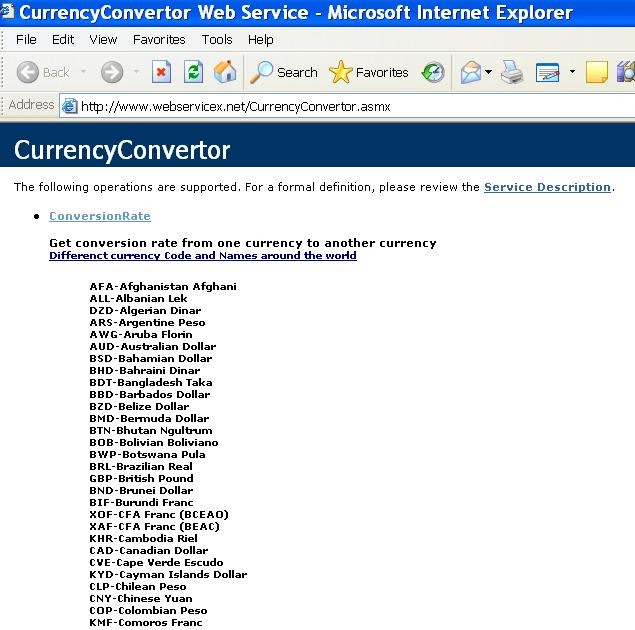 Net Blogs And Other Interests Currency Conversion Web Service With Asp