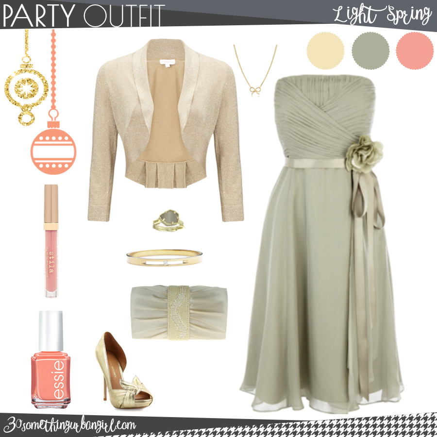 Pretty holiday party outfit for Light Spring seasonal color women