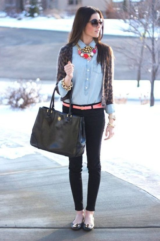 Elegant look with gray cardigan, blue blouse, jeans and pink statement necklace for Deep Winter women