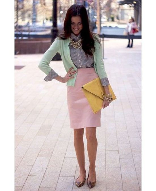 e00e62d256 Lovely outfit idea with mint cardigan and pink skirt for Light Spring women
