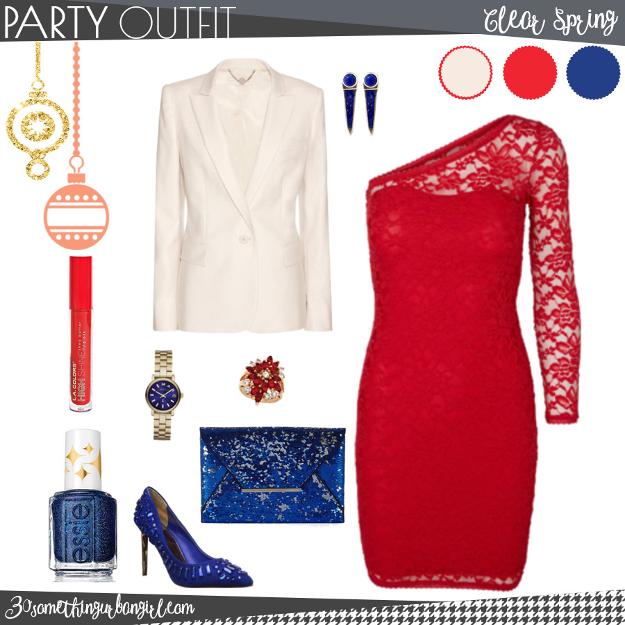 Pretty holiday party outfit for Clear Spring seasonal color women