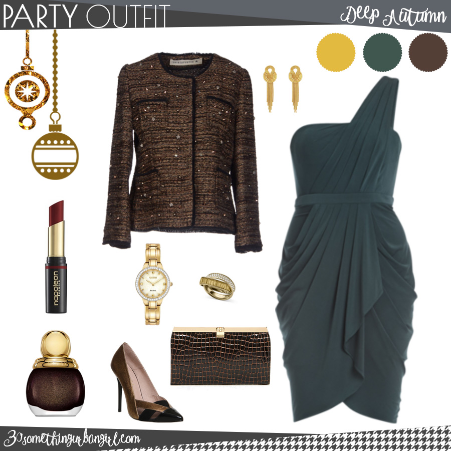 Pretty holiday party outfit for Deep Autumn seasonal color women