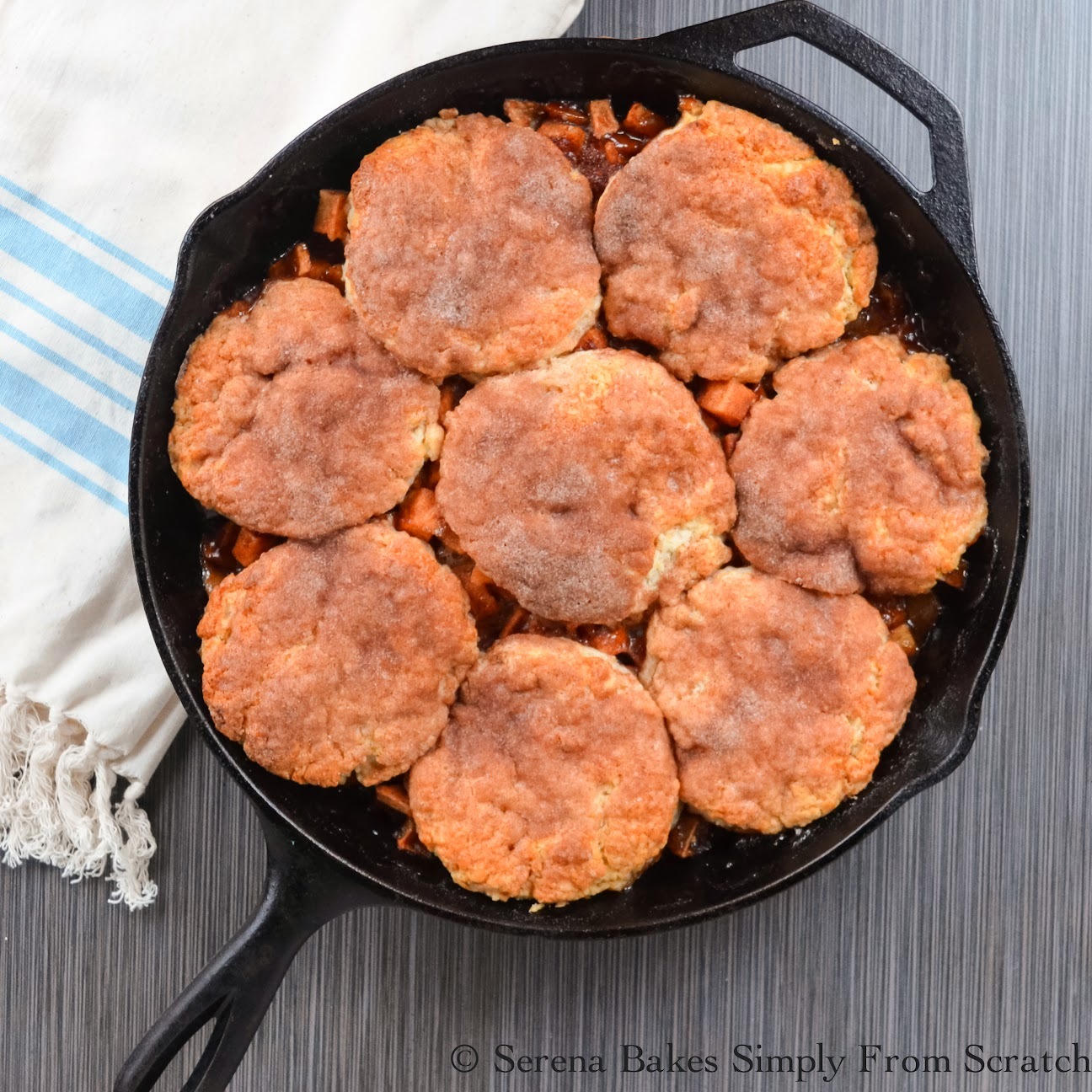 Apple Pie Cobbler Skillet is a family favorite. A mix between a pie and cobbler. The best of both worlds!