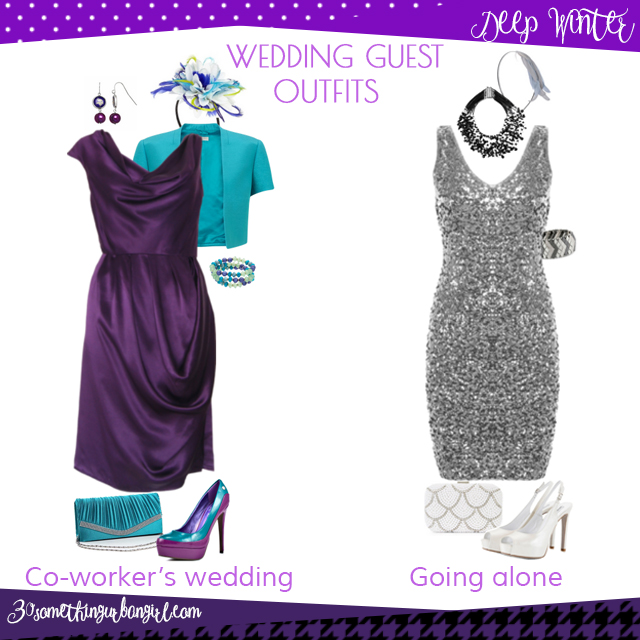 Wedding guest outfit ideas for Deep Winter women by 30somethingurbangirl.com // Are you invited to a your co-worker's wedding or maybe going solo to a nuptials? Find pretty outfit ideas and look glamorous!
