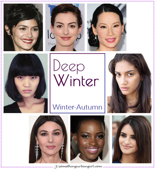 Deep Winter, Winter-Autumn seasonal color celebrities by 30somethingurbangirl.com