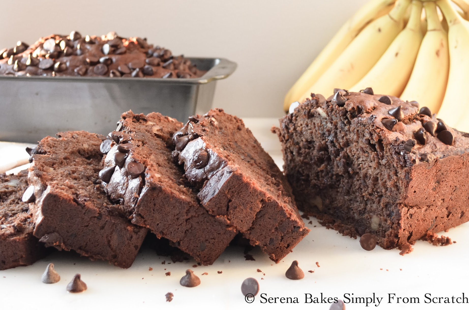 Double Chocolate Banana Bread the perfect use for over ripe bananas. www.serenabakessimplyfromscratch.com