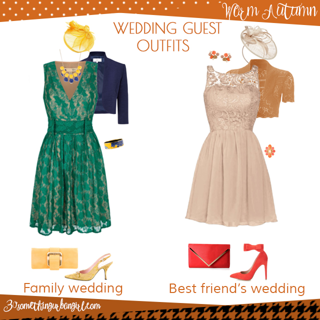 Wedding guest outfit ideas for Warm Autumn women by 30somethingurbangirl.com // Are you invited to a family or your best friend's wedding? Find pretty outfit ideas and look fabulous!