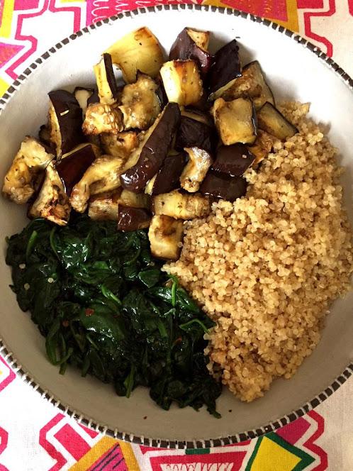 Eggplant Spinach Quinoa Buddha Bowl