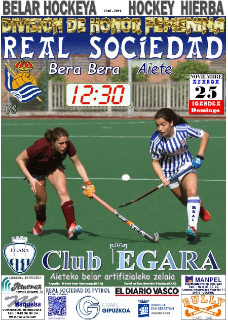 Cartel hockey 2018-11-25 Real Sociedad - Club EGARA.