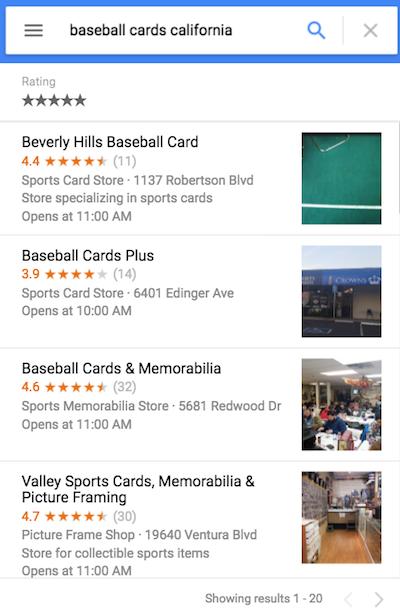 Fiziksel mağazalar için zengin sonuçlar gösteren örnek Google Arama sonucu.