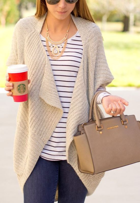 52b4303edb Pretty outfit tip with big beige cardigan and stripe top for Light Spring  women
