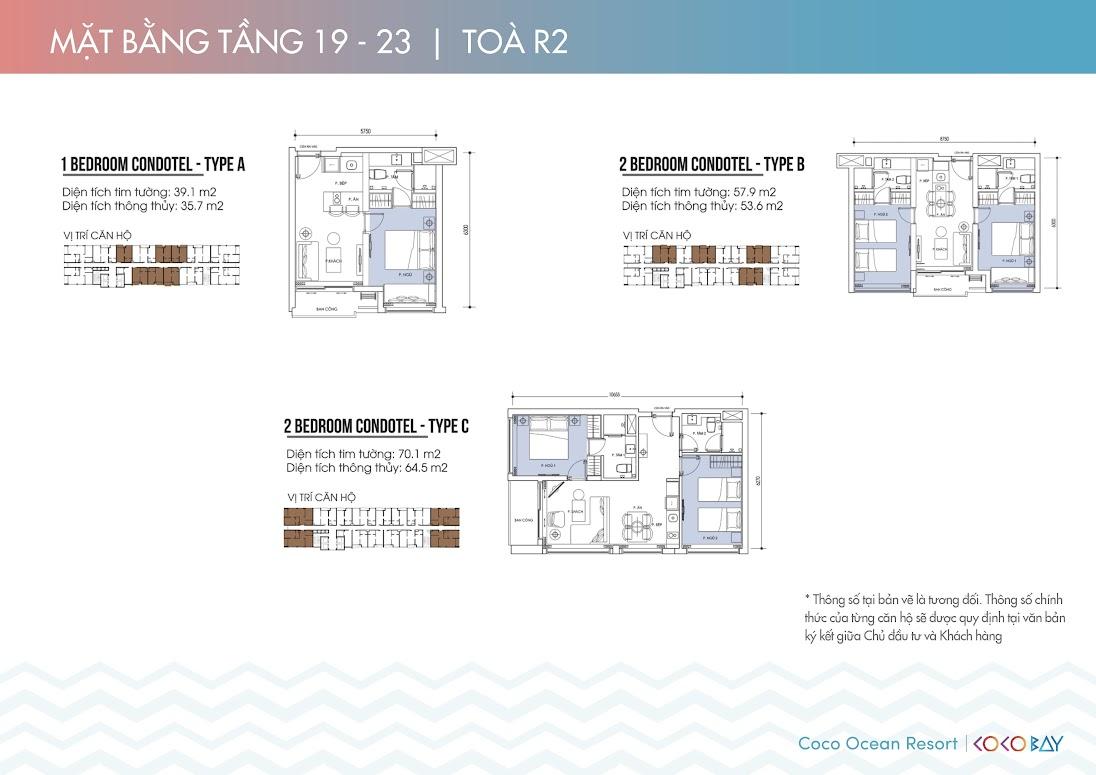 Chi tiết căn hộ tầng 19-23 tòa R2