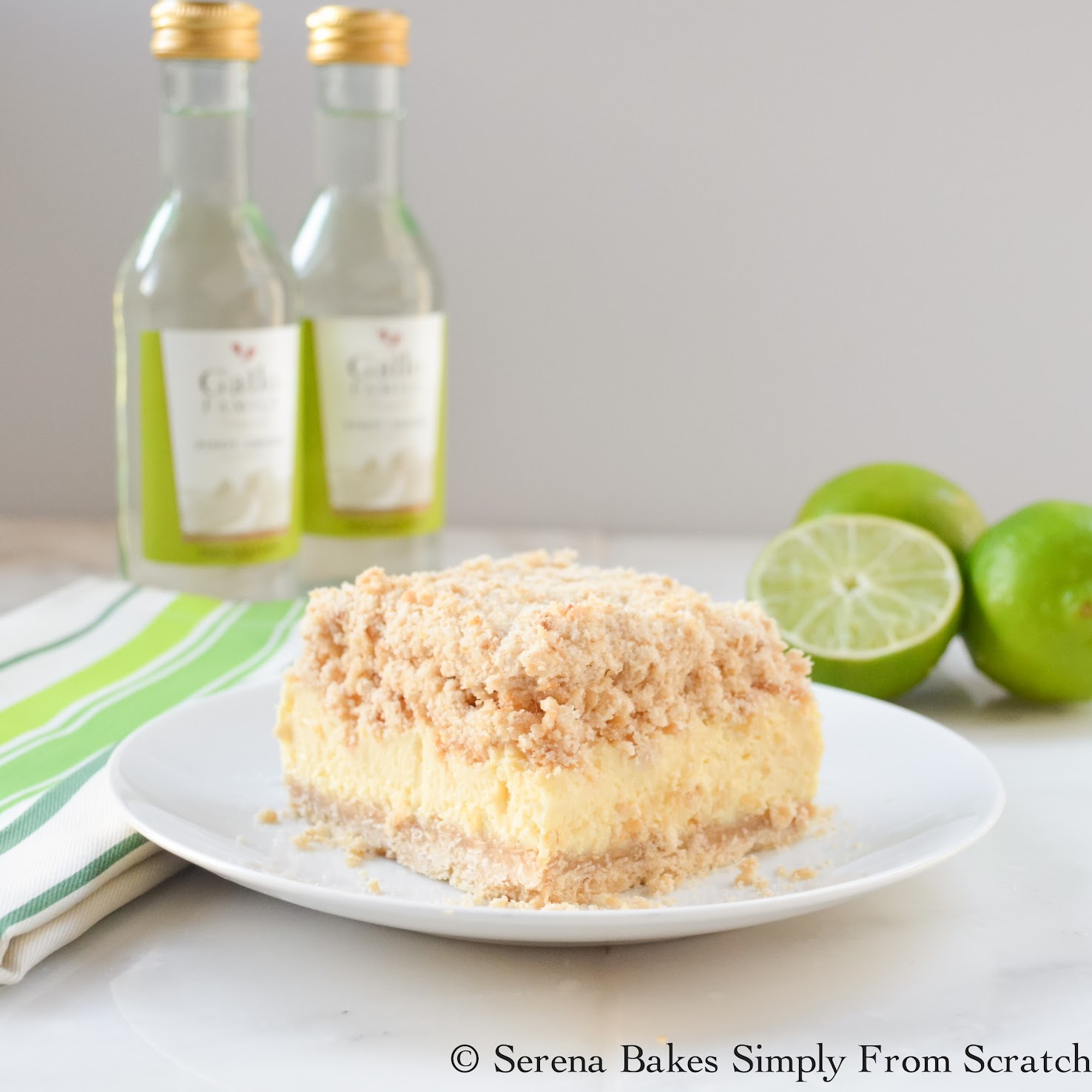 Key Lime Cheesecake Crumb Bars are creamy and delicious! www.serenabakessimplyfromscratch.com